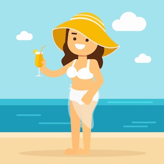 Woman go to travel woman in bikini on a sandy beach drinking orange juice