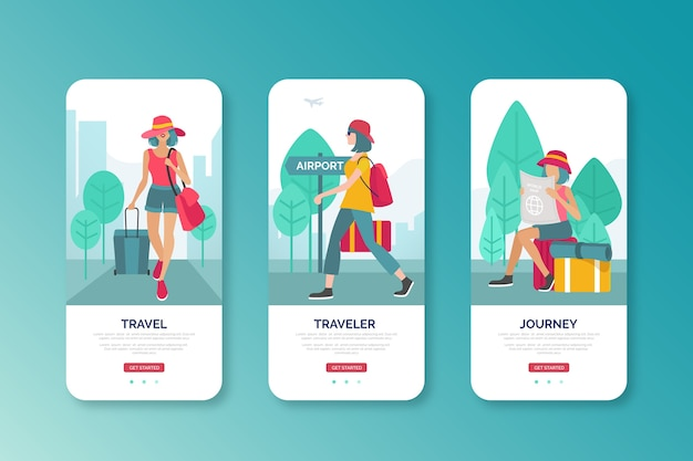 Woman going to airport mobile interface design