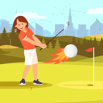 Woman golf player hitting ball enveloped in fire.