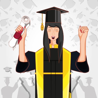 Woman graduated with uniform character