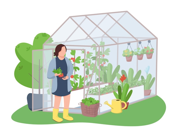 Woman and greenhouse 2d web banner, poster. woman holding radish, horticulturist flat character on cartoon background. growing flowers and vegetables printable patches, colorful web elements