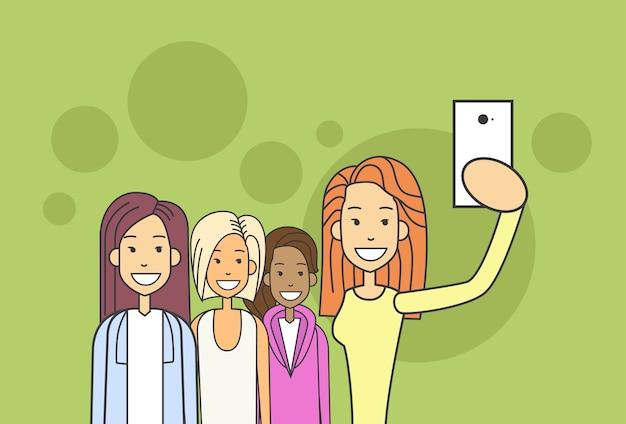 Woman group taking selfie photo on smart phone