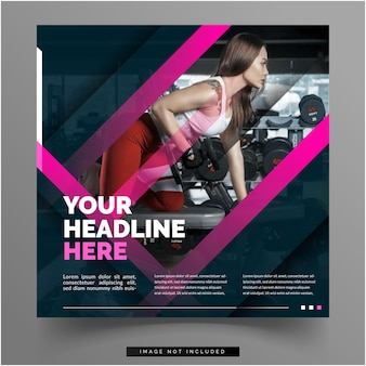 Woman on gym banner social media template