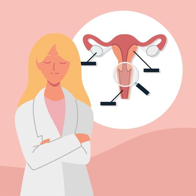 여자 산부인과 의사 해부학 모델 자궁
