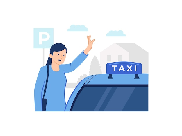 Woman hailing or stopping a taxi concept illustration