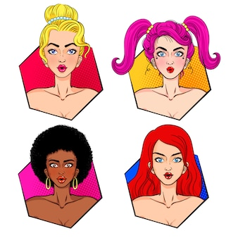 Woman hair and face pop art collection