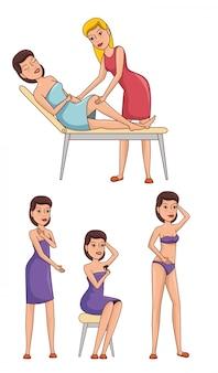 Donna nel trattamento di depilazione