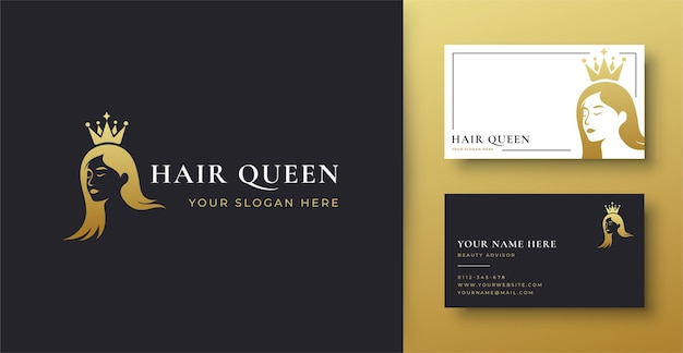여자 헤어 살롱 골드 그라데이션 로고 및 명함 디자인