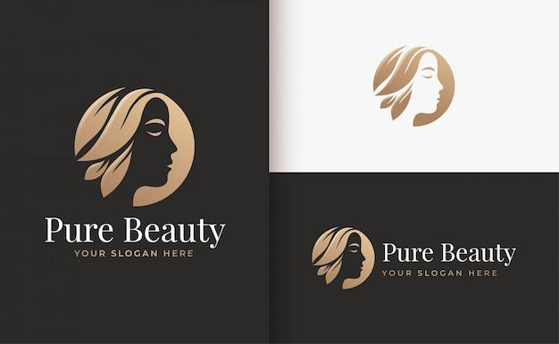 Женский парикмахерский салон золотой градиент дизайн логотипа