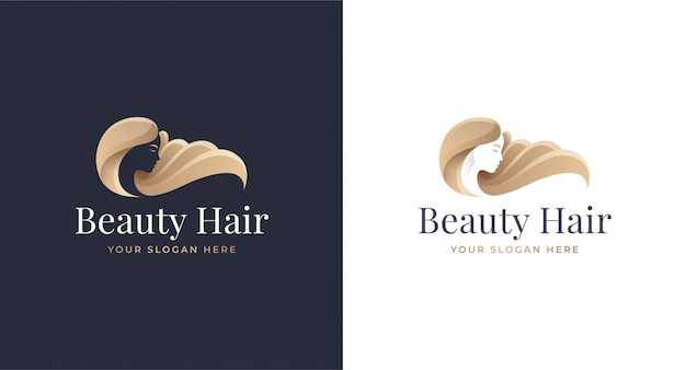 Woman hair salon gold gradient logo design