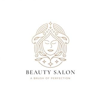 Женский парикмахерский салон с золотым градиентом логотипа