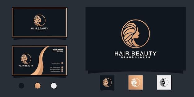 Дизайн логотипа женского парикмахерского салона с современной концепцией и дизайном визитной карточки premium vektor