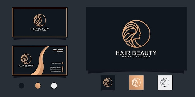 Woman hair salon logo design with modern and fres concept and business card design premium vektor