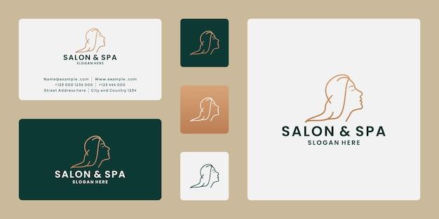 Woman hair style stylized silhouette, beauty salon logo template