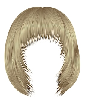 Woman  hairs kare with fringe   blond  colors .