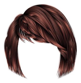 Женские волосы каре с бахромой коричневого цвета.