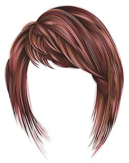 Женские волосы с бахромой розового цвета.
