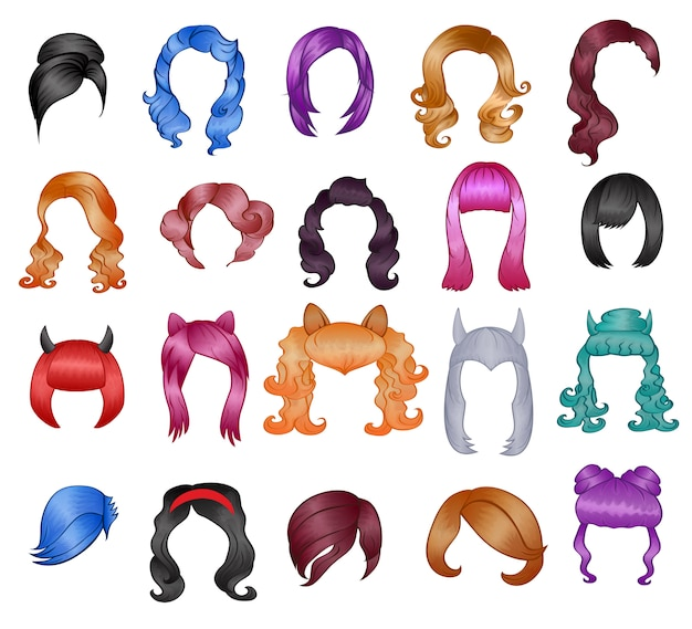 女性の髪型のかつらベクトルハロウィーンの散髪と女性の偽の髪型またはボブウィッグイラスト理髪または白で隔離されるカーニバルの色で散髪