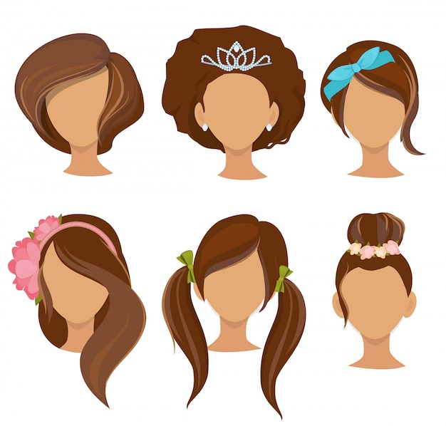 Woman hairstyles. young girls stylish hair items hoops bows elastic bands clips pictures collection