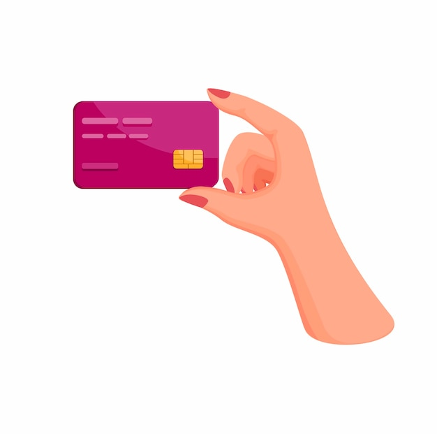 Woman hand holding credit or debit card. finance business symbol in cartoon illustration   on white background