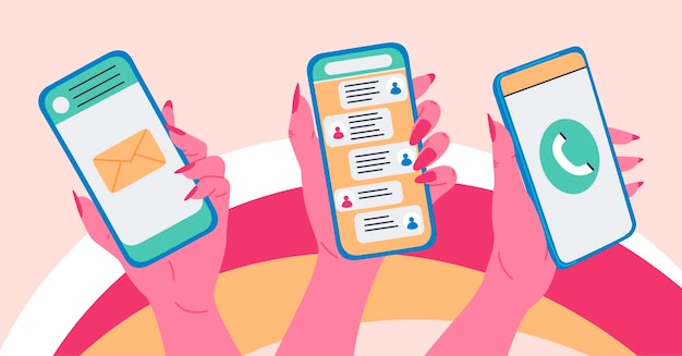メッセージと電話のバナーデザインでスマートフォンを持っている女性の手