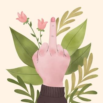 Mano della donna che mostra il dito medio