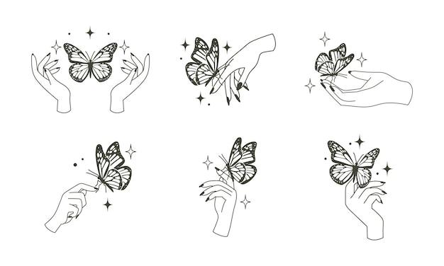 나비와 여자 손입니다. 마법의 밀교 오컬트 스타일 일러스트
