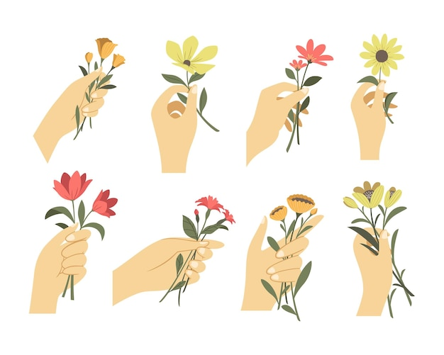 Woman hands in different gestures holding bouquets or branches