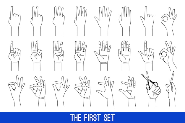 Woman hands gestures outline icons. ladies hands linear vector icons set