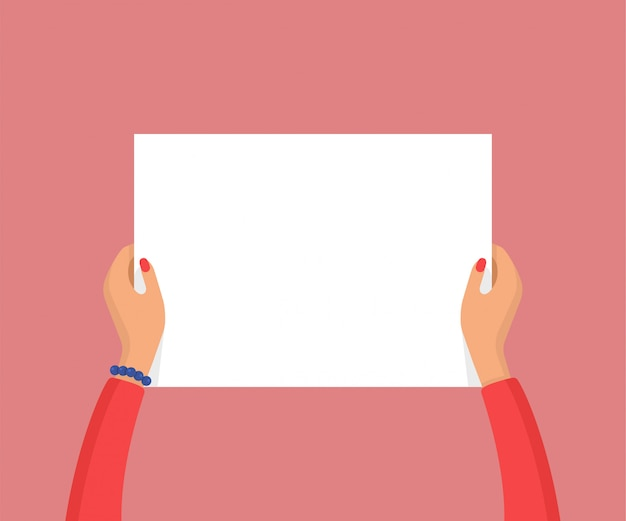 Woman hands holding empty blank white placard. protest or advertisement concept. flat vector illustration
