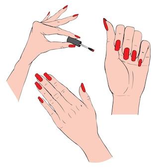 エレガントなマニキュアと磨かれた爪を持つ女性の手。