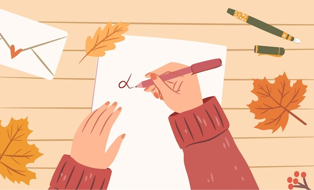 종이 시트에 편지를 쓰는 펜으로 여자 손 상위 뷰 아늑한 가을 그림