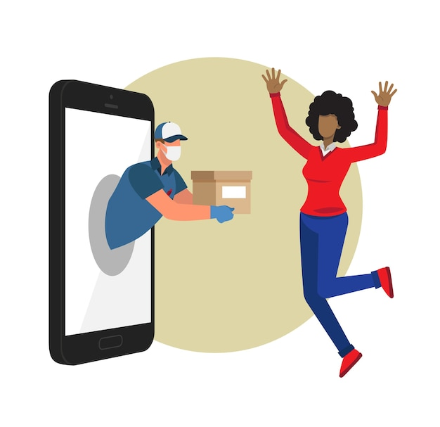 Woman happy to see the delivery man with her package