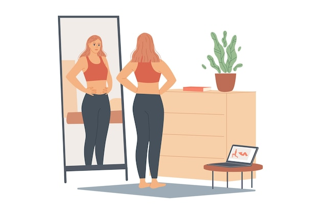 Woman not happy with her weight, she looks at her belly and waist, stands in front of a mirror and looks at her body after training.