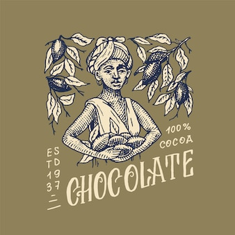 女性はカカオ豆を収穫しました。チョコレート粒。 tシャツ、タイポグラフィ、ショップ、看板のビンテージバッジまたはロゴ。手描きの刻まれたスケッチ。