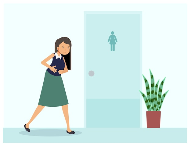 A woman have stomach ache is standing in front of toilet. a woman need to use toilet but the room is not available.  flat cartoon character illustration.