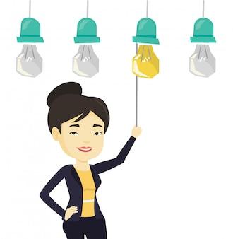 Woman having business idea.