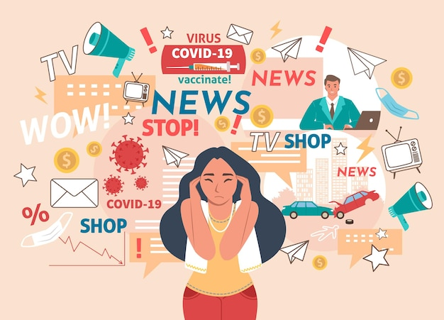 Tv와 온라인 뉴스, 속보, 평평한 벡터 삽화로 인해 두통이 있는 여성. 소녀는 너무 많은 정보를 참을 수 없습니다. 코로나 바이러스 사례, 예방 접종, 교통 사고. 뉴스 소음.