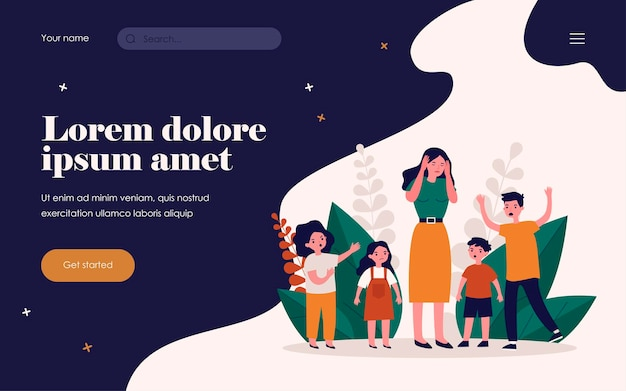 Woman having headache and surrounded by angry children. teacher, mom, noise flat vector illustration. behavior and childhood concept for banner, website design or landing web page