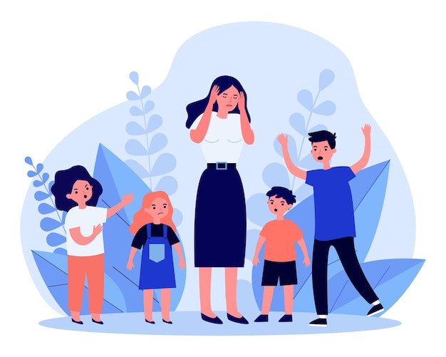 Woman having headache and surrounded by angry children. teacher, mom, noise   illustration. behavior and childhood concept for banner, website  or landing web page