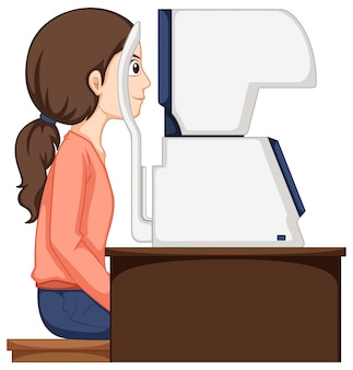 Woman having her eyes checked by machine