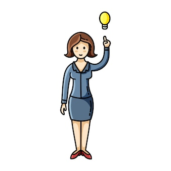 Woman having an idea and pointing her finger up to the light bulb pose.