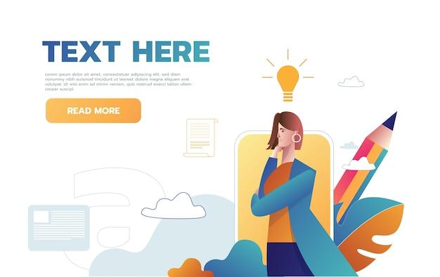 Woman having an idea web template