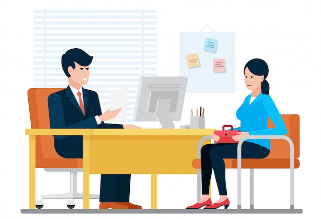Woman having a job interview recruiting with hr businessman while sitting near desk in office  illustration