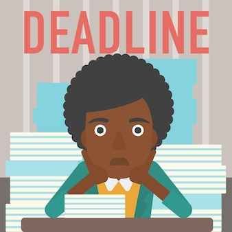 Woman having problem with deadline.