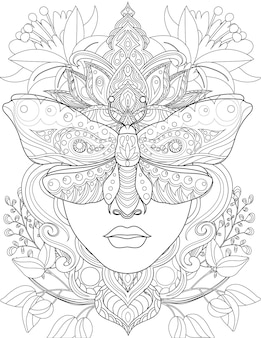 Woman head facing front eyes covered with a moth colorless line drawing lady with crown butterfly
