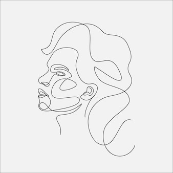 여자 머리 선화 그림입니다. 한 선 그리기.