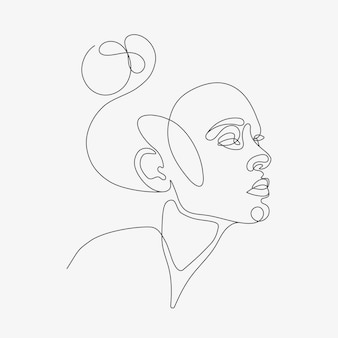 Иллюстрация линии головы женщины рисование в стиле одной линии