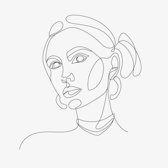 Женская голова oneline арт стиль
