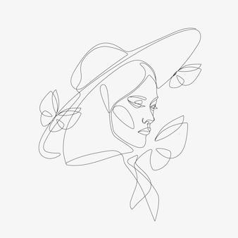 蝶の構成を持つ女性の頭